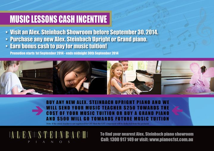 Music Lessons Cash Incentive